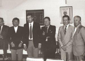Il Commssario Straordinario Antonio Spillare con Michele Buso, Danilo Bigi, Helenio Herrera ed Enrico Galuppo