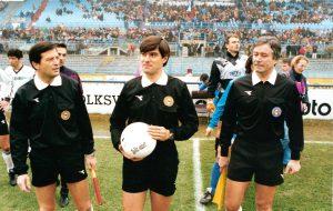 L'assistente Natalino Tagliapietra con l'arbitro Alfredo Trentalange