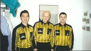L'assistente Silvano Toniolo con l'arbitro Pierluigi Collina